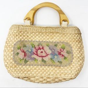 Vintage | Cottagecore Needlepoint and Wicker Purse